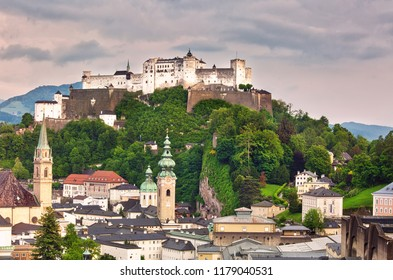 View to Hohensalzburg Fortress on an overcast spring day