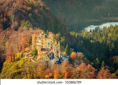 View of  Hohenschwangau Castle in golden light, Fussen, Germany