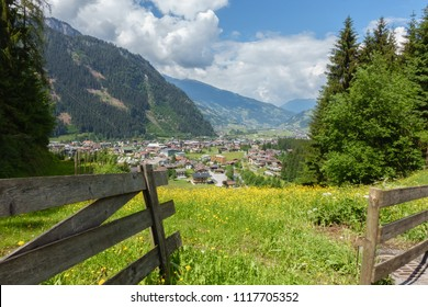 View of the holiday village Mayrhofen in the Zillertal