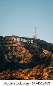 View of the Hollywood Sign from Lake Hollywood Park, in Los Angeles, California