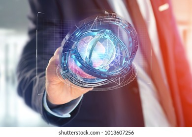 View of a Hologram made of wheel with a futuristic data interface - 3d render
