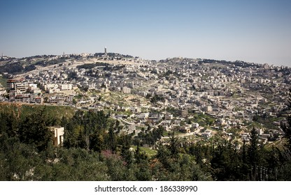 View of holy city Jerusalem at evening , Israel