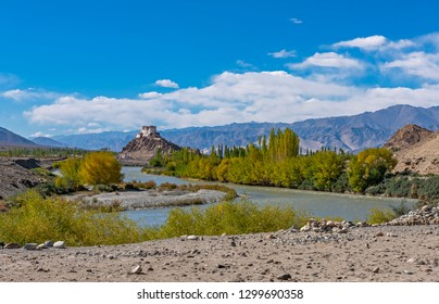 view of  holy Stakna Monastery with Indus river in Foreground in Leh, ladakh, India