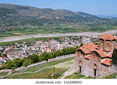 View of Holy Trinity Church and Berat from the city's citadel