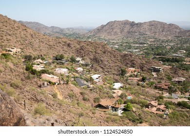 View of homes from Camelback mountain in Phoenix, Arizona