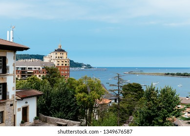 View of Hondarribia, Fuenterrabia from old upper town. It is a border town on a promontory facing Hendaye over the Txingudi bay.