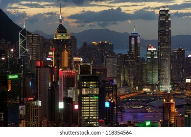 View of Hong Kong Central Business District on a clear sunset evening
