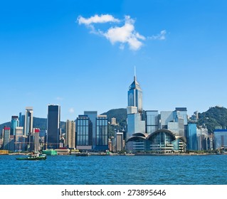 view of Hong Kong skyscrappers with various logos in Hong Kong harbour on sunny day