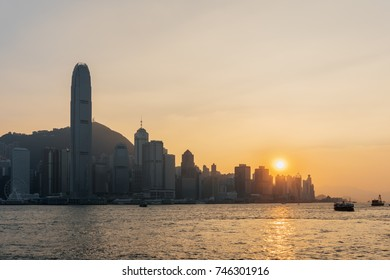 View of Hong Kong at sunset