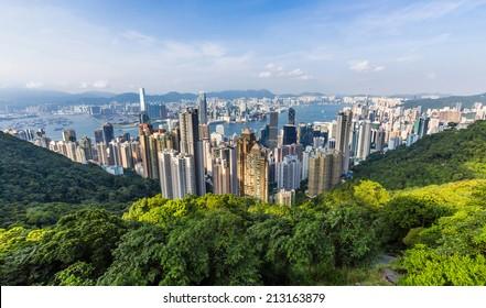 View of Hong Kong from Victoria Peak in Hong Kong, China.
