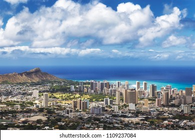 View of Honolulu city, Waikiki and Diamond Head from Tantalus lookout, Oahu, Hawaii