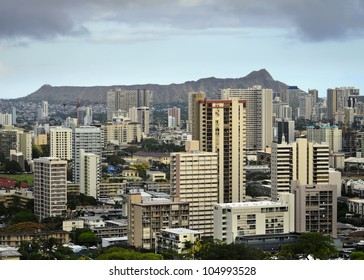 view of Honolulu and Diamond Head from Punchbowl Cemetery