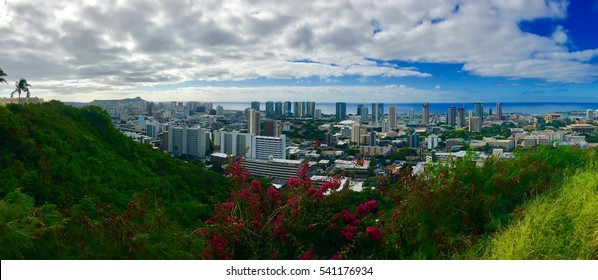 View of Honolulu from the National Memorial Cemetery of the Pacific on the island of Oahu.