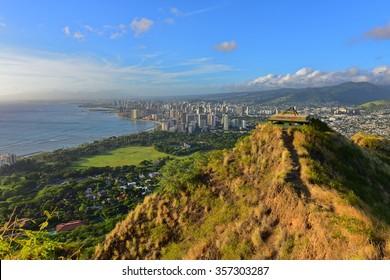 View of Honolulu and Waikiki Beach area from summit of Diamond Head volcano in Oahu, Hawaii