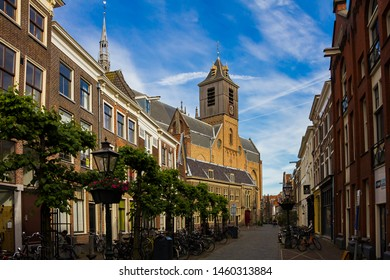 The view of Hooglandse Kerk from the The Burcht van Leiden (Fort of Leiden), an old shell keep in Leiden constructed in the 11th century. Netherlands. the gate, the walls