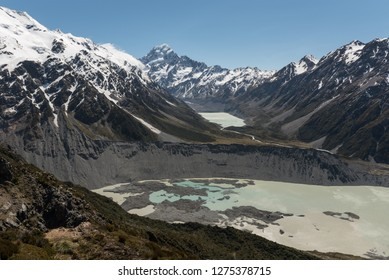 View up the Hooker valley to Mount Cook, Mueller Lake in the foreground and Hooker Lake in the background in front of the Hooker Glacier and Mount Cook. Aoraki/Mount Cook National Park, New Zealand.