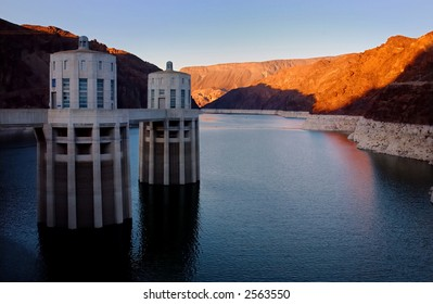 A view of Hoover Dam and Lake Mead, Arizona and Nevada border.