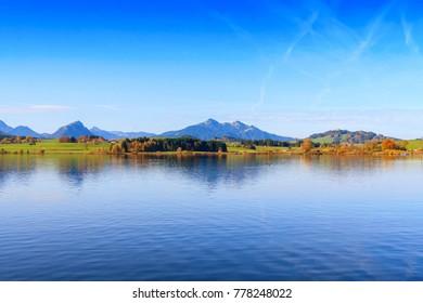 View of Hopfensee lake.Bavaria, Germany