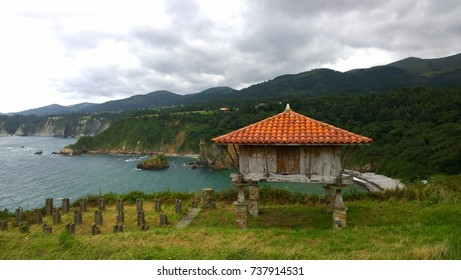 View of a horreo, ancient typical rural construction, in Cadavedo, Asturias - Spain