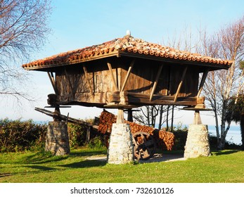 View of a horreo, typical rural construction in Asturias, Spain