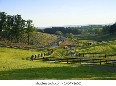 view to horse farm on a hot humid evening in the country