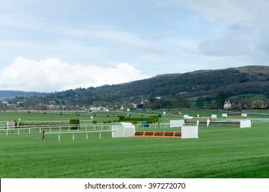 View of horse jump fences Cheltenham Racecourse.