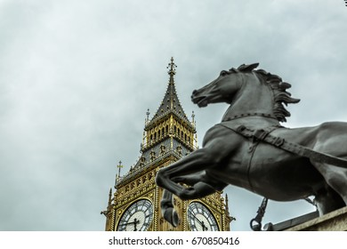 View of the horse (part of statue by Thomas Thornycroft) near Big Ben. London, UK