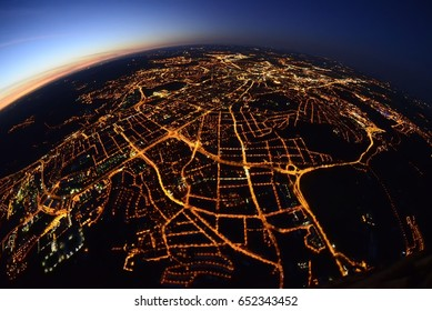 View from the hot air balloon, night city (Brno, Czech republic)