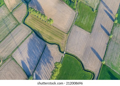 View from hot air balloon over fields, Flanders, Belgium