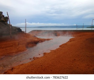 View of the hot springs, Mount Tavurvur, Rabaul, Papua New Guinea.