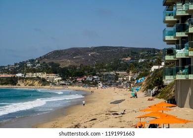 View from hotel balcony of ocean in laguna beach california