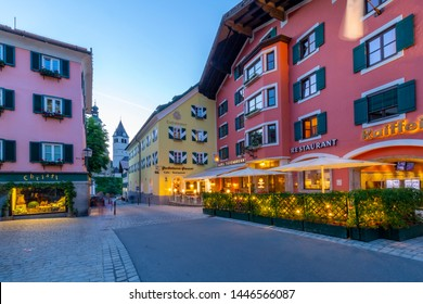 View of hotels and colourful architecture on Vorderstadt at dusk, Kitzbuhel, Austrian Tyrol Region, Austria, Europe 1-5-2019