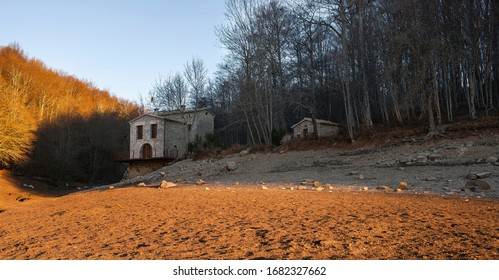 View of a house in an empty reservoir