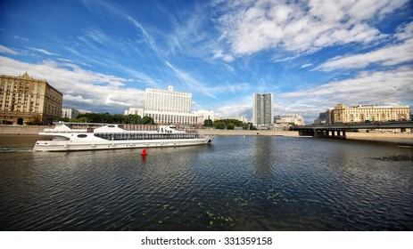 View of the House of the Government of the Russian Federation from Taras Shevchenko Waterfront.