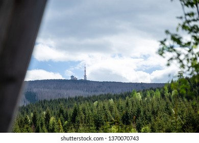 View to the house mountain Brocken in the National Park resin, springtime