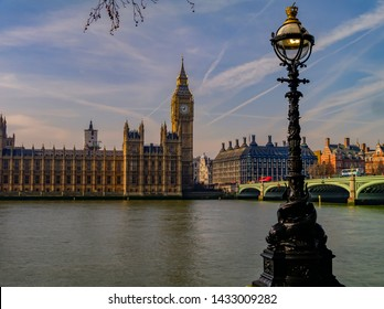 View of house of parliament, Big Ben, River Thames and Westminster Bridge.