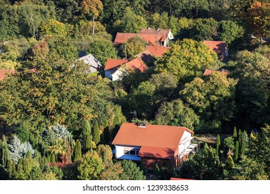 View of house rooftops of small village in Poland
