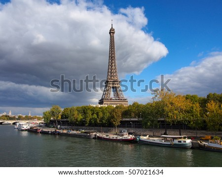 View Houseboats On Seine Paris Eiffel Stock Photo Edit Now