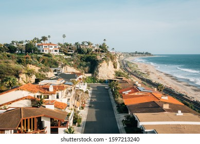 View of houses and beach in San Clemente, California