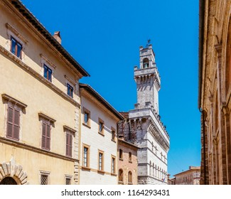 View of Houses and Bell Tower of Montepulciano, Italy