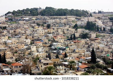 View of the houses and buildings of Jerusalem from the ramparts of the old city