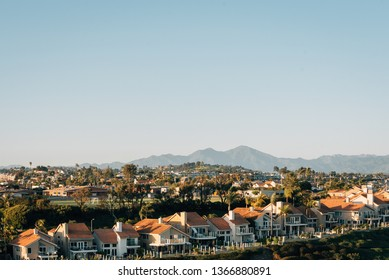 View of houses and hills from Hilltop Park in Dana Point, Orange County, California