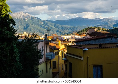 A view of houses and mountains, Nuoro, Sardinia, Italy.