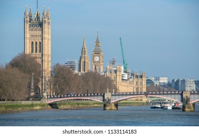 View of the Houses of Parliament from across the Lambeth Bridge.
