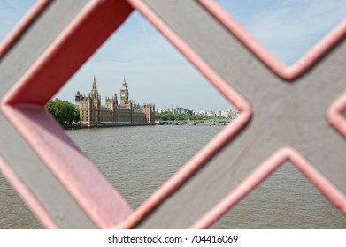 View of Houses of Parliament and Big Ben from a bridge. London, UK