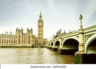 View of the Houses of Parliament and Westminster Bridge in London.