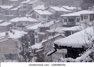 View of the houses and trees on the hill in the winter in the town of Veliko Tarnovo in Bulgaria