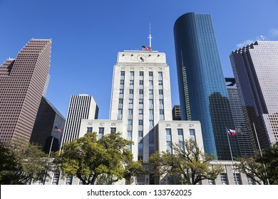 A View of Houston City Hall and Downtown, Texas