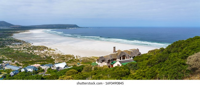 View of Hout Bay Beach, Cape Town, South Africa. Copy space for text