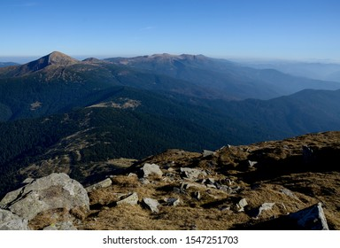 View of Hoverla mountain (top of Ukraine 2061m) and Chornogora mountain range from Petros mountain. Carpathian mountains. Ukraine.